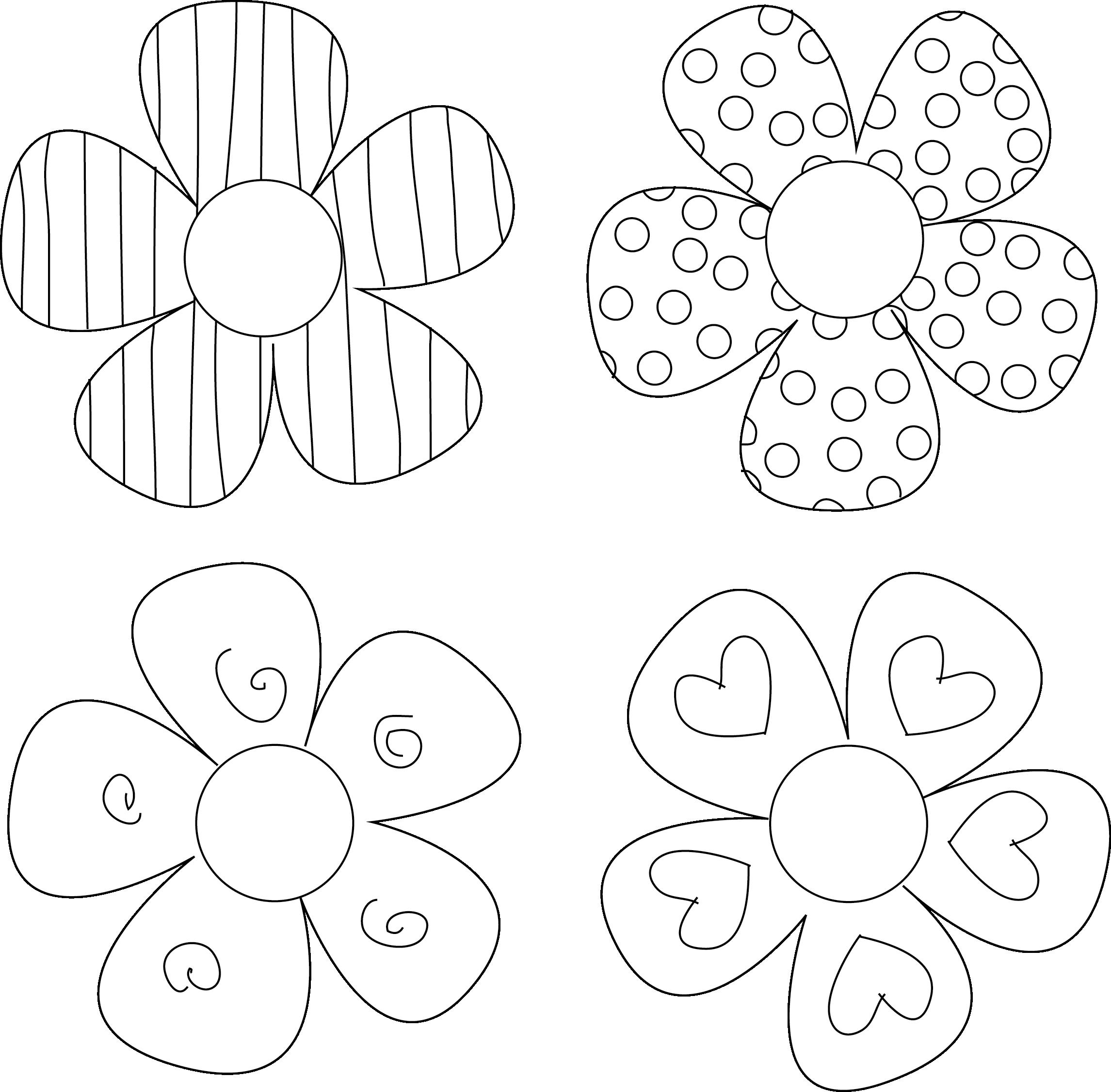 Color clipart printable. Colorful flower outline petal