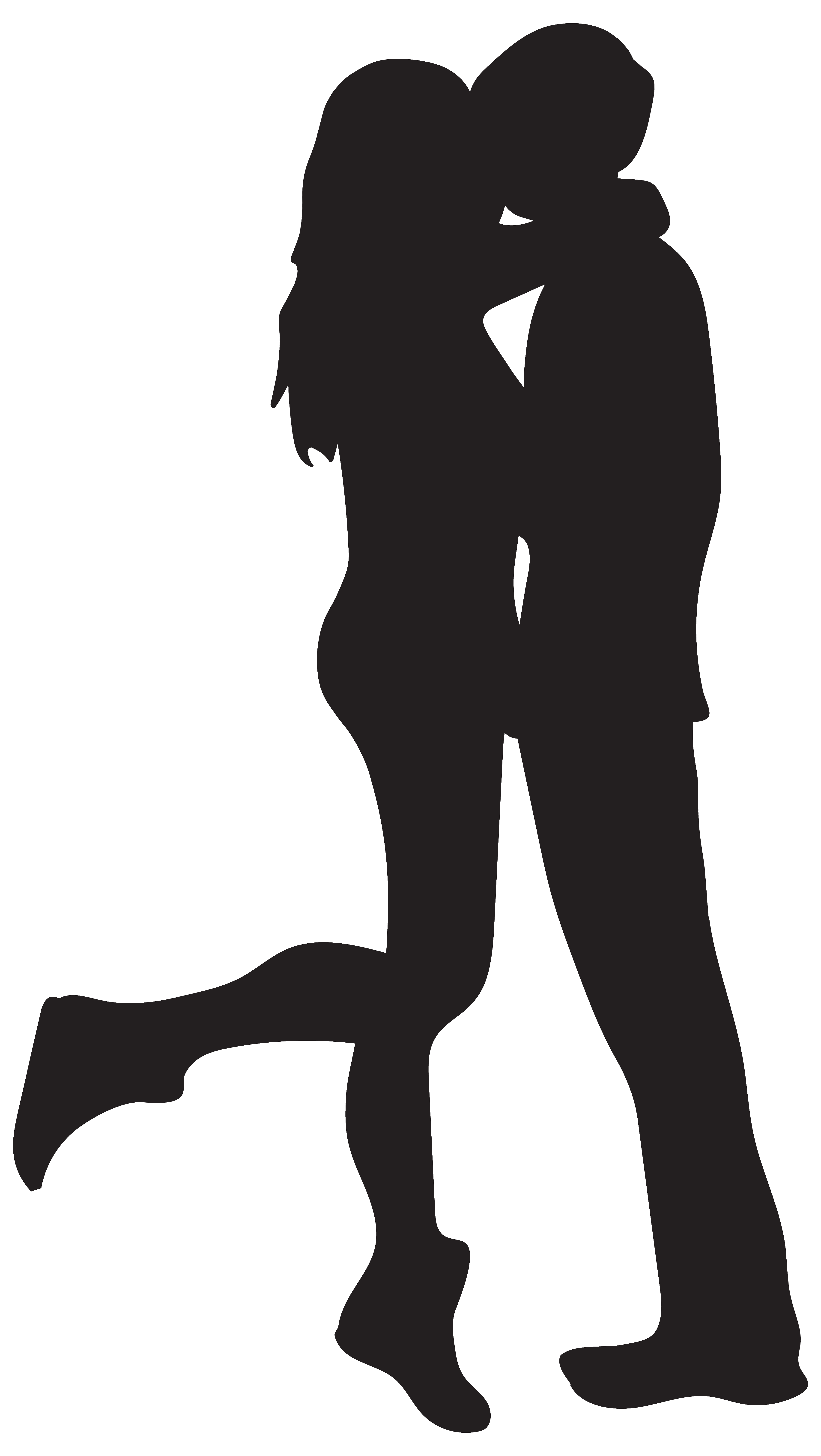 Kissing couple silhouettes png. Kiss clipart man