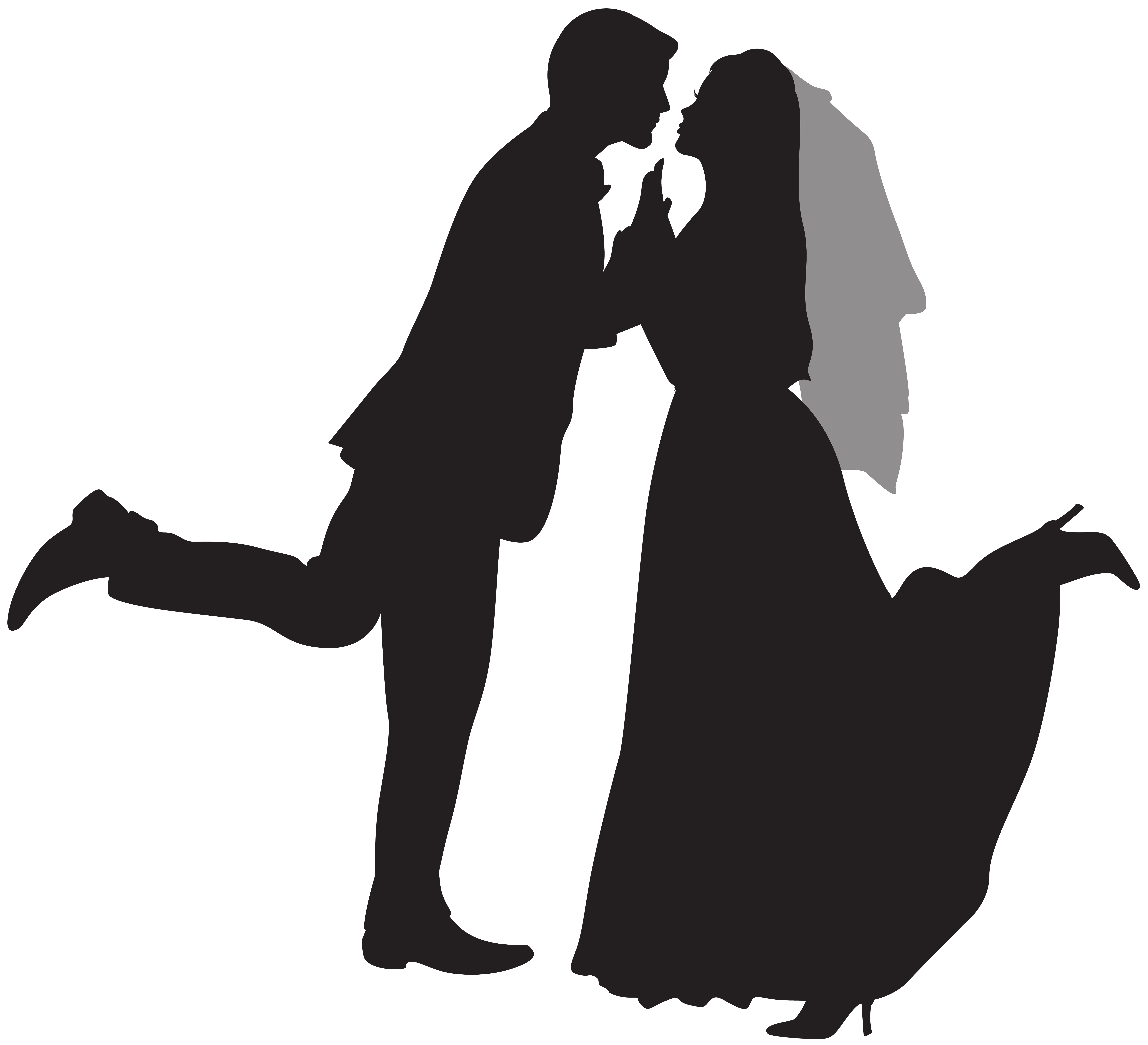Silhouette wedding png clip. Couple clipart black and white
