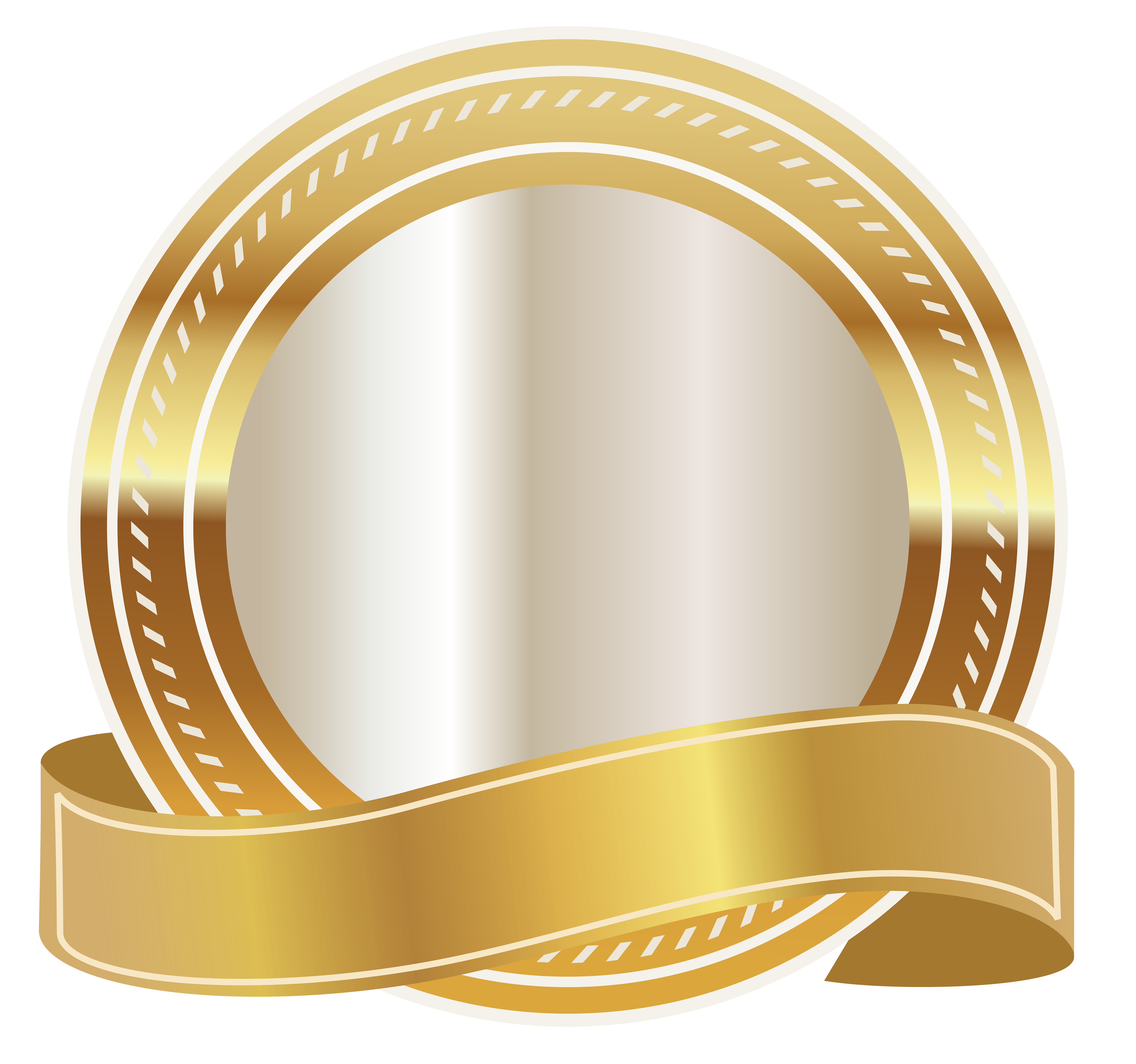 Gold seal with ribbon. Label clipart royalty free
