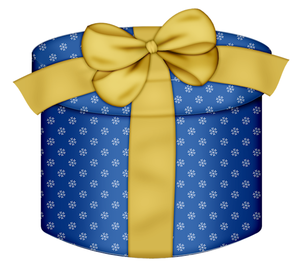Blue round gift box. Clipart present parcel