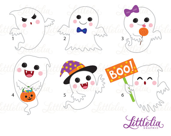 Cute halloween . Ghost clipart adorable