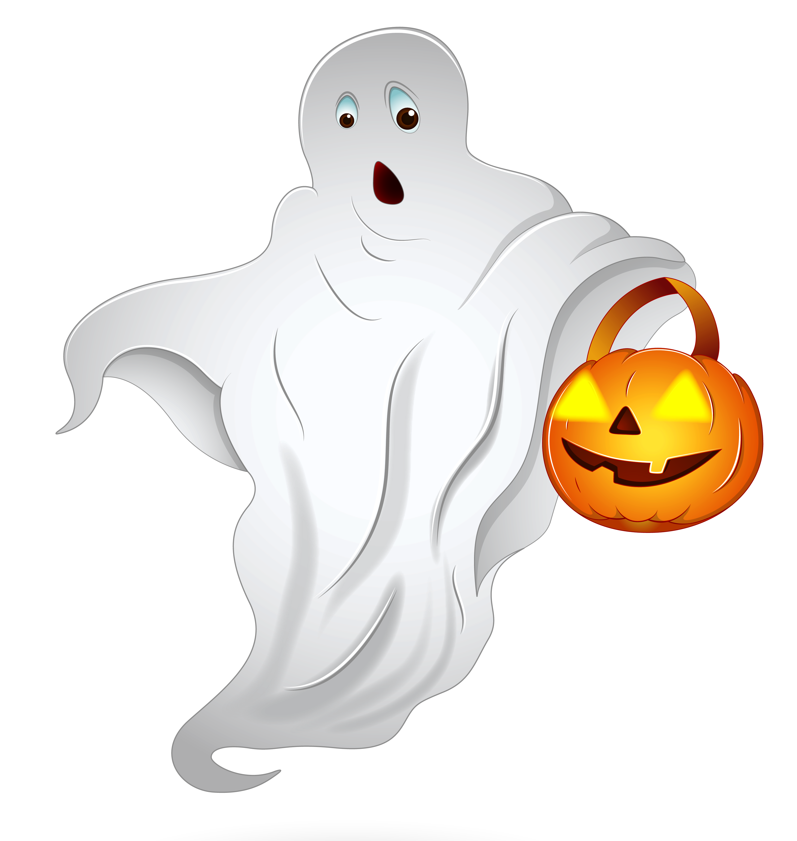 Ghost clipart character. Halloween with pumpkin basket