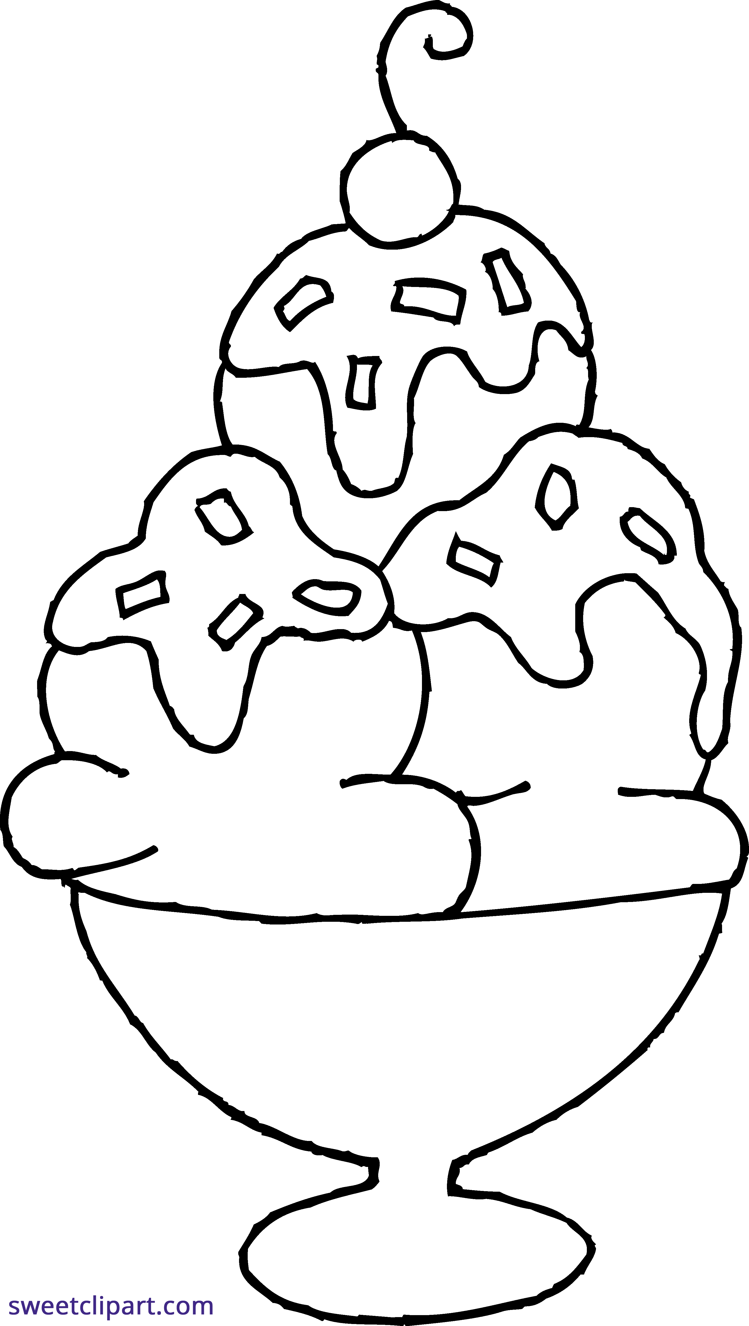 Sundae coloring page sweet. White clipart ice cream