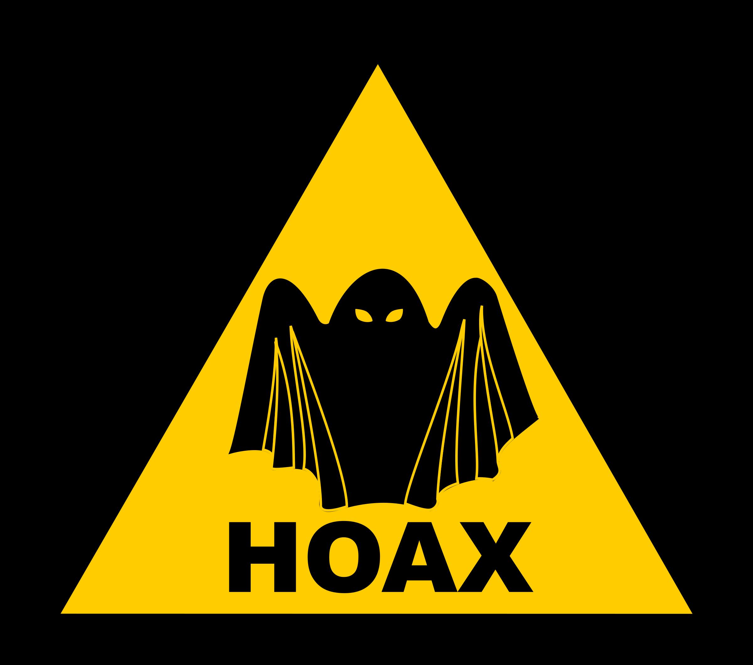 Hoax warning big image. Clipart ghost fake