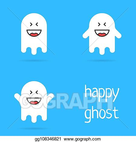 Clipart ghost mad. Vector set of white