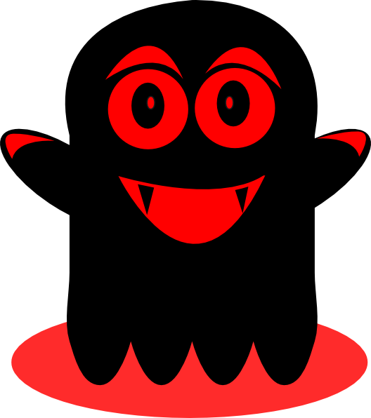 Black and red clip. Ghost clipart sticker