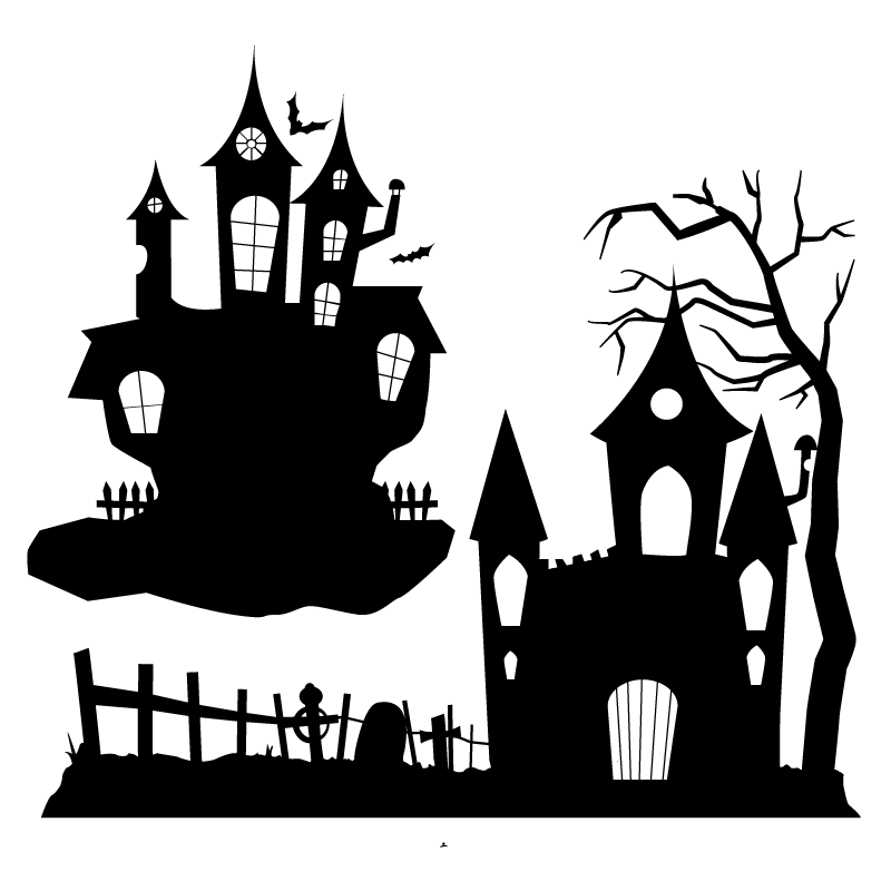 Haunted house silhouette png. Halloween ghost party clip