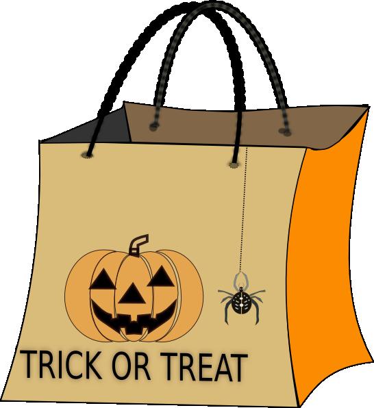 Trick or treat clip. Clipart pumpkin bag