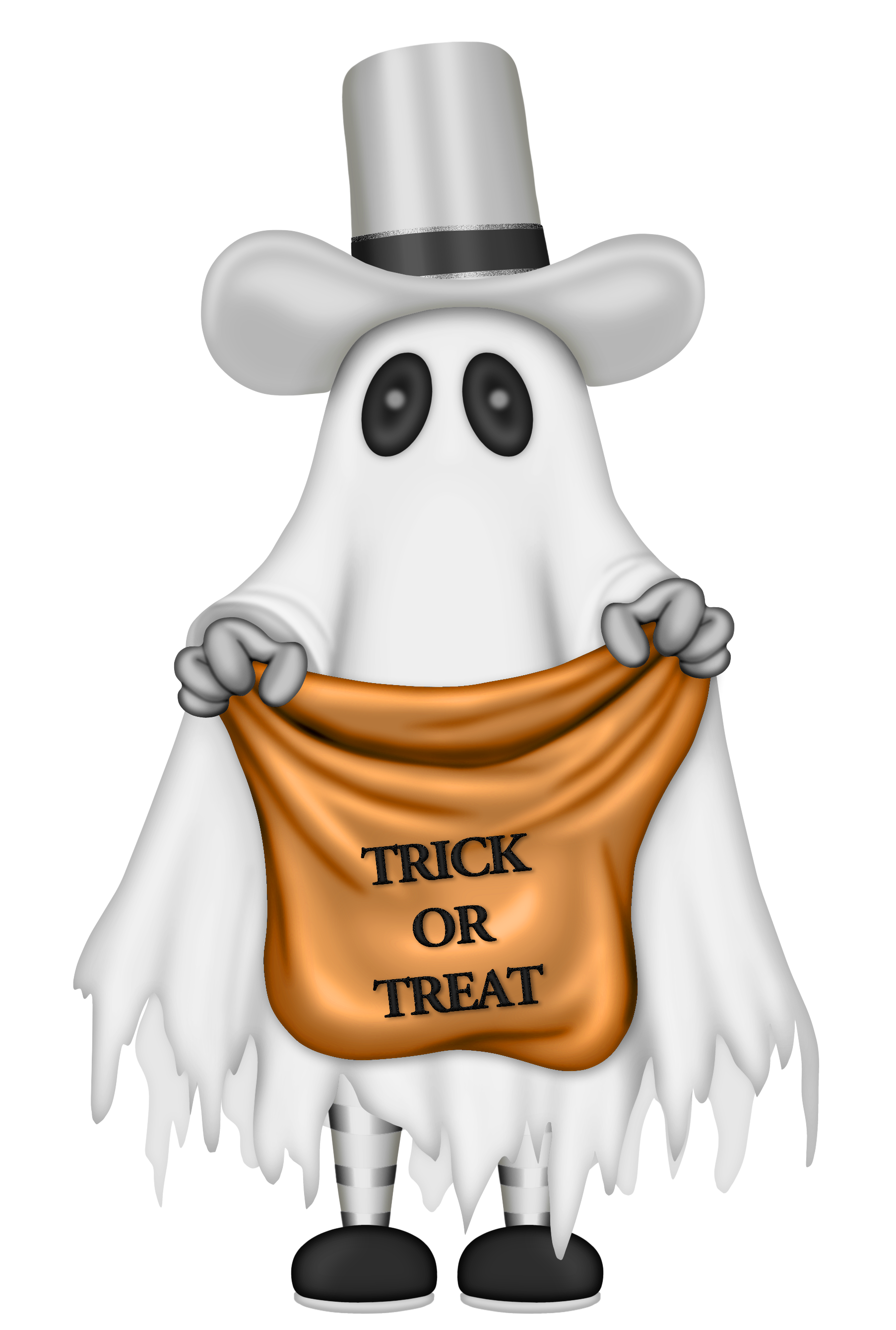 Halloween ghost with trick. Grains clipart grain bag