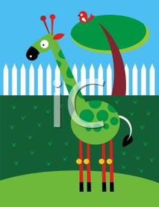 A in back yard. Giraffe clipart bird