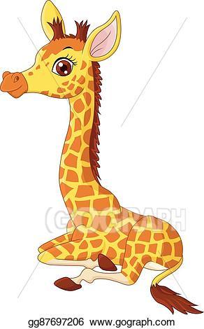 Clipart giraffe calf. Vector illustration little sitting