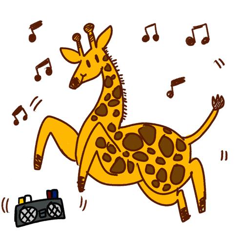 Giraffe clipart dancing. Cartoon dance drawing