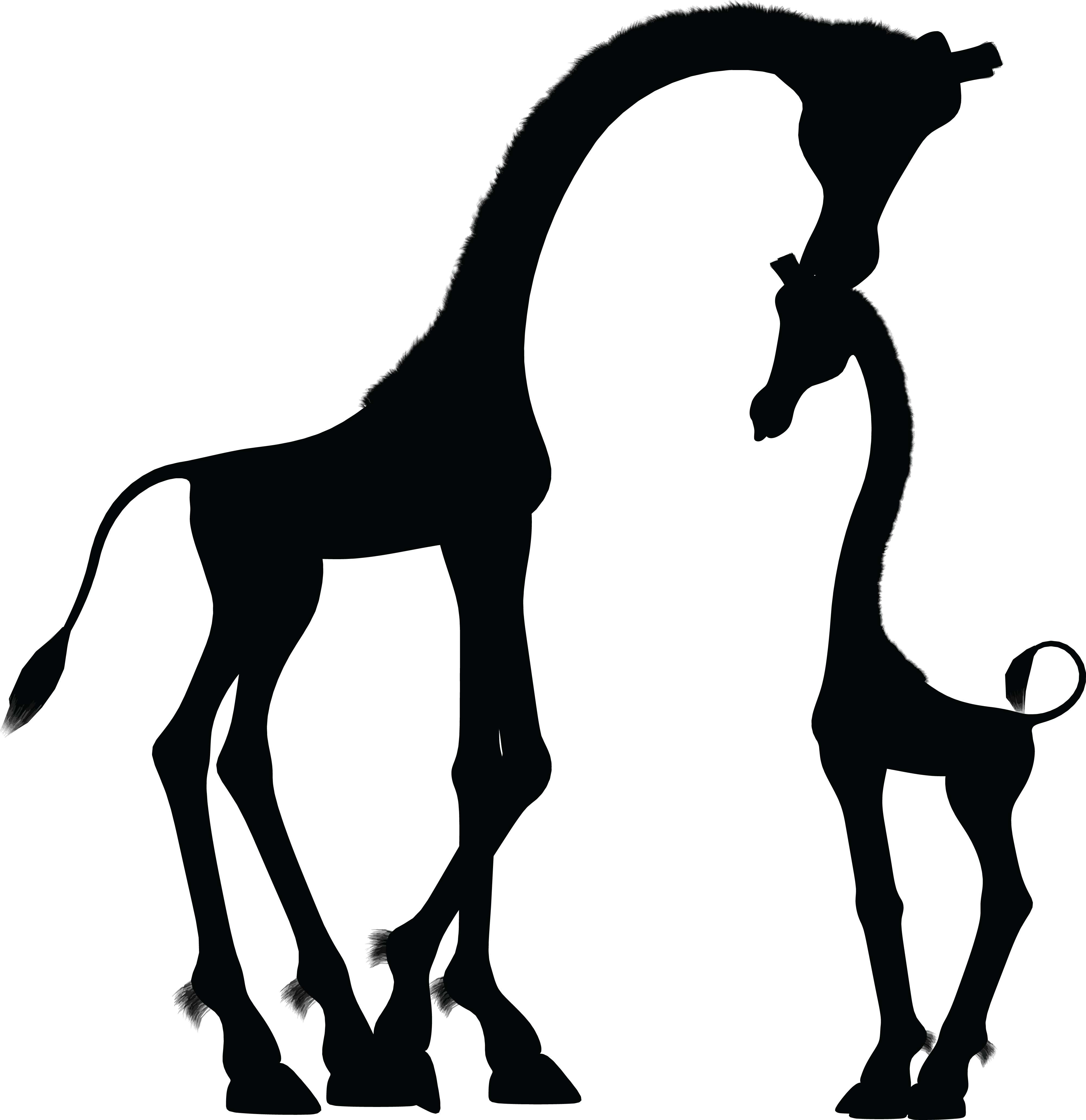 And tree silhouette at. Family clipart giraffe