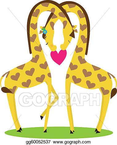 Clipart giraffe love. Eps vector stock illustration