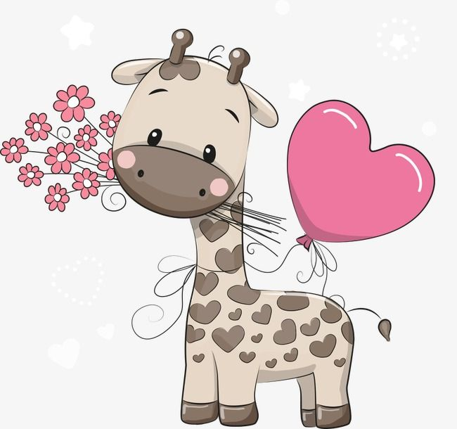 And heart shaped vector. Clipart giraffe love
