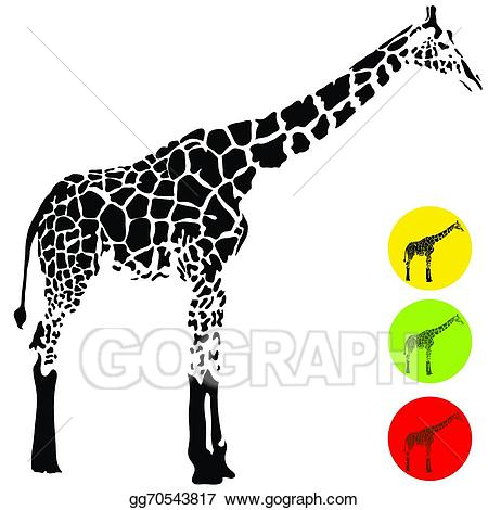 Vector art drawing gg. Clipart giraffe profile