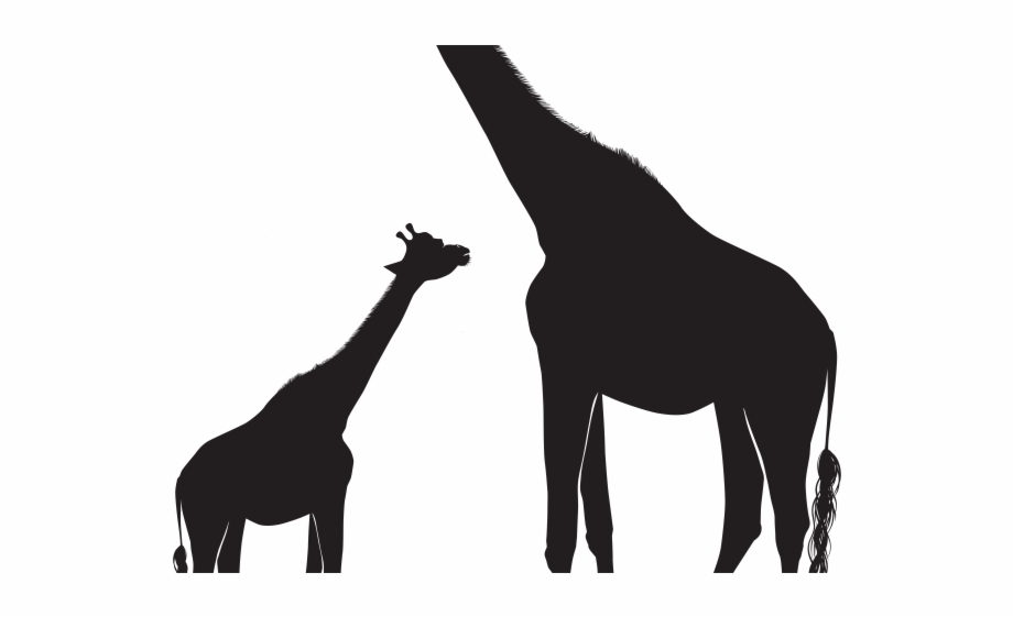 Giraffe and baby silhouette. Clipart mom shadow