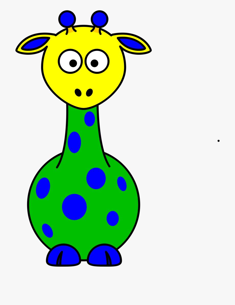 Rainbow animals cartoon . Clipart giraffe swimming