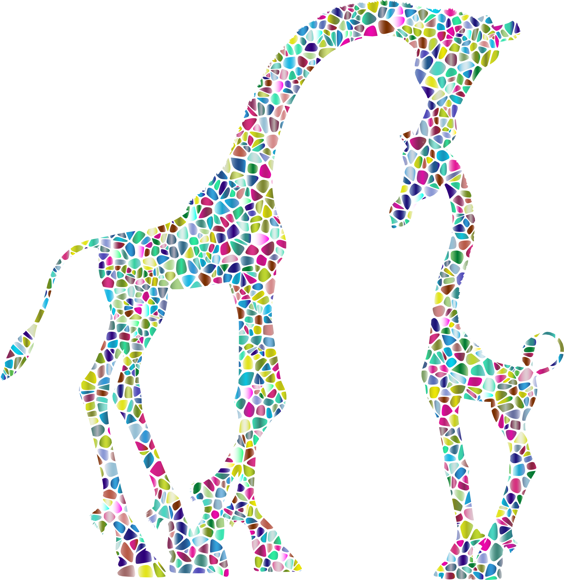 Polyprismatic tiled mother and. Giraffe clipart childrens