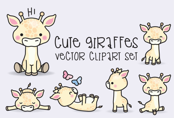 Giraffe clipart vector. Premium kawaii giraffes cute