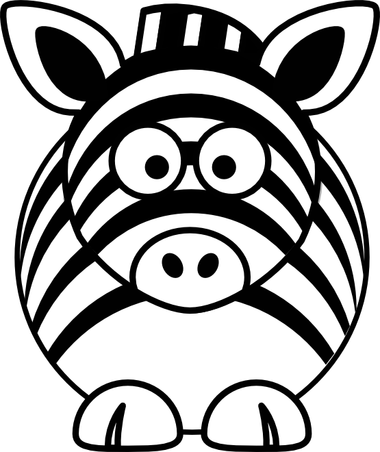Zipper clipart coloring page. Zebra black and white