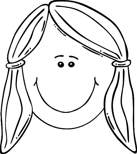 Smiley clipart outline. Smiling girl face balck