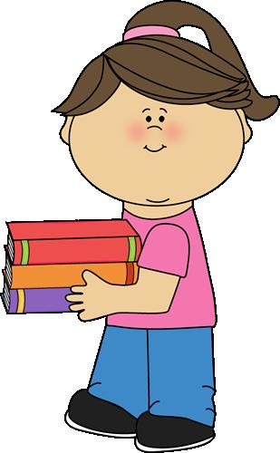 Holding books clip art. Clipart girl book