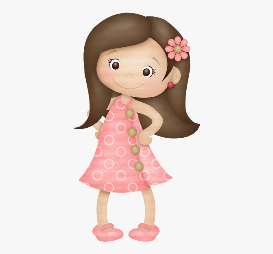 Girl with cliparts cartoons. Girls clipart brown hair