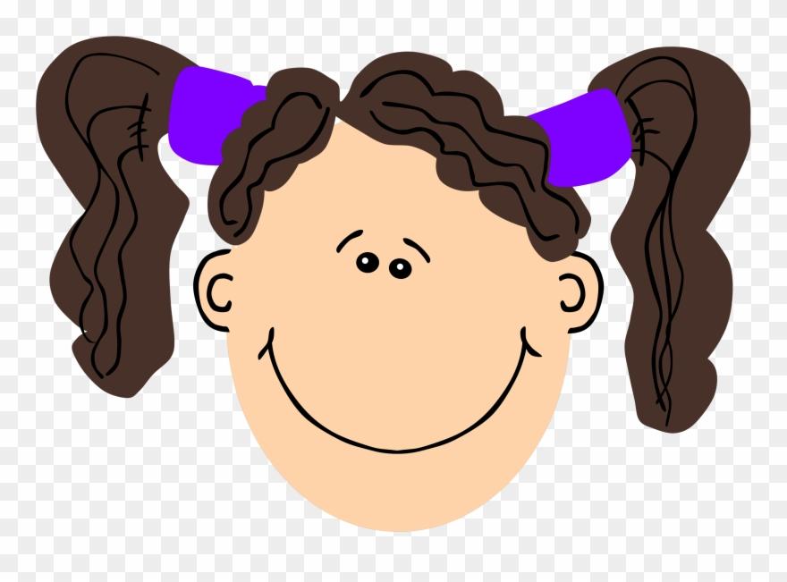 Girl clip art face. Girls clipart brown hair
