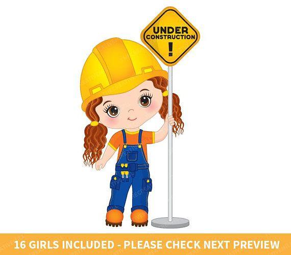 Construction girls vector . Engineer clipart kid