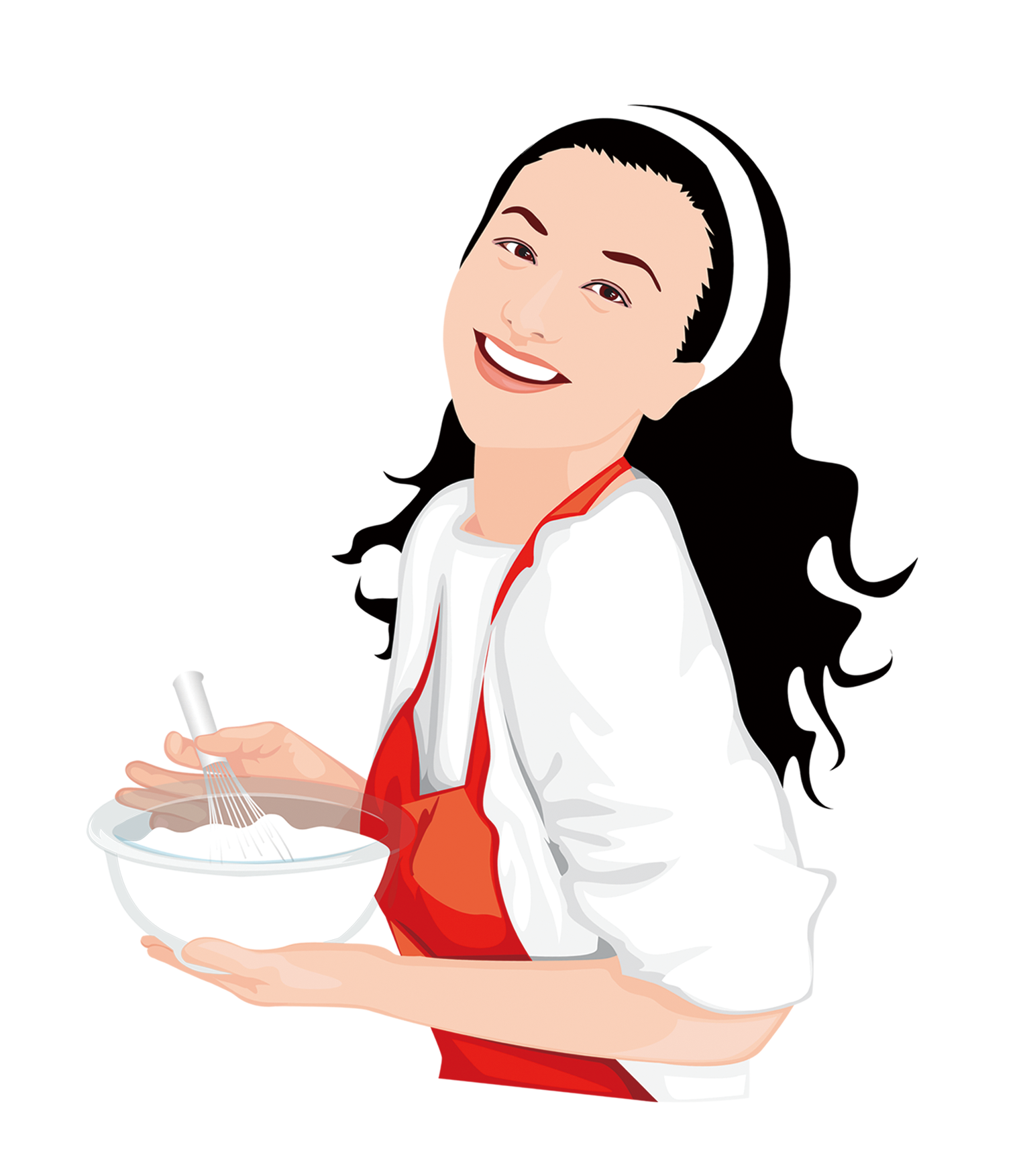 Woman illustration cook a. Girl clipart cooking