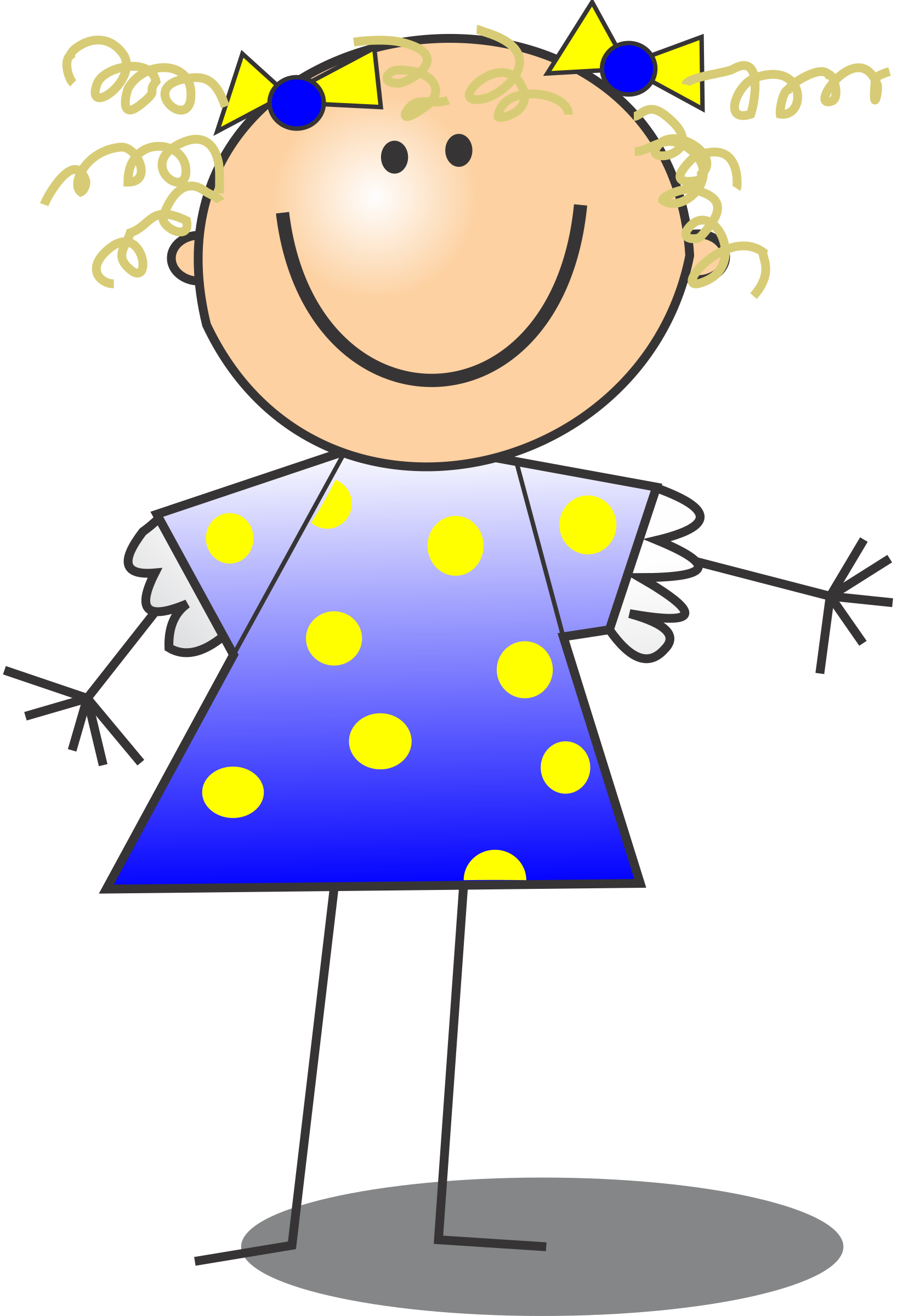 Girl smiling stick figure. Girls clipart curly hair