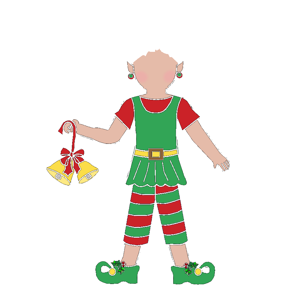 Elves clipart body. Christmas elf girl fill