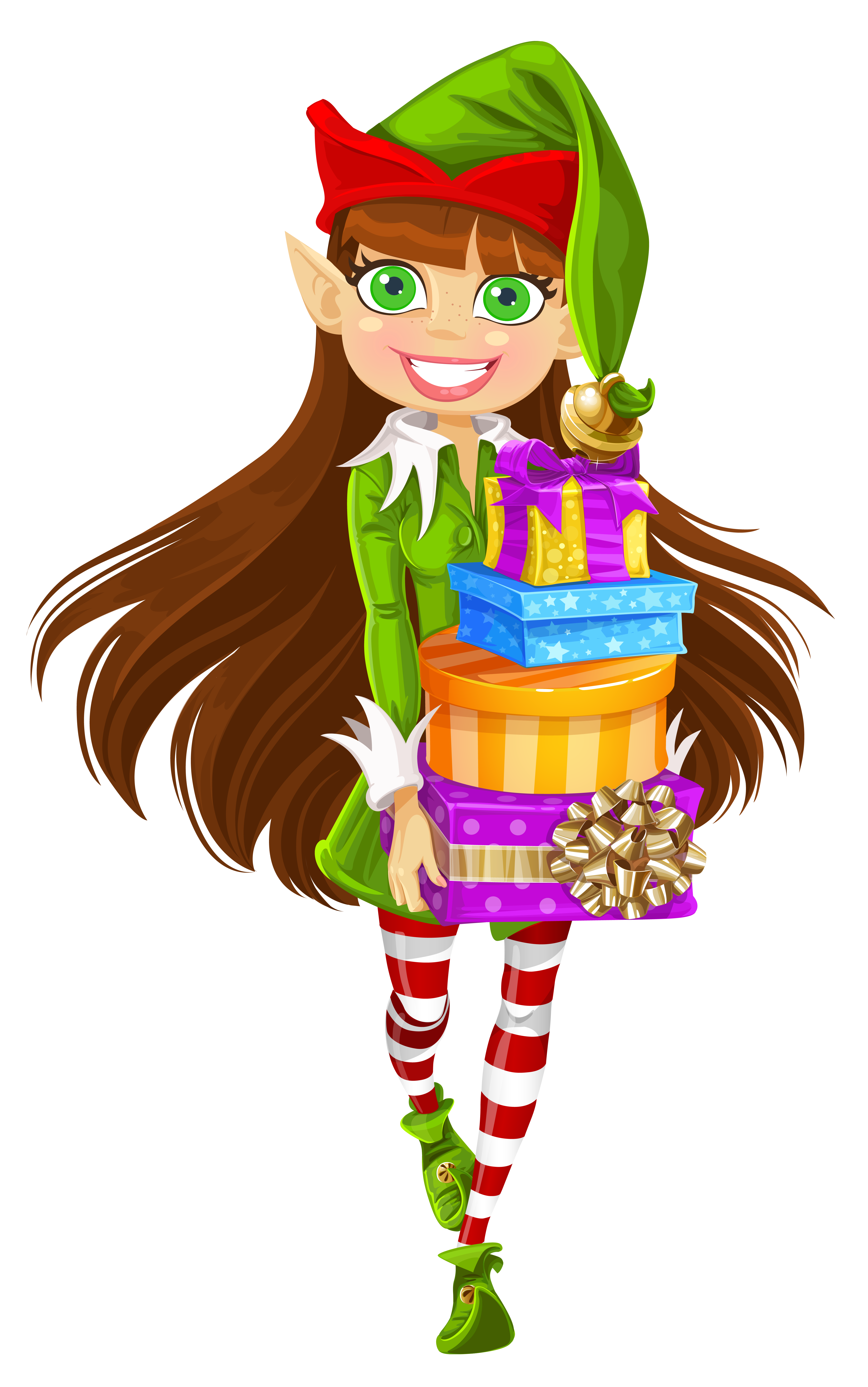 Lady clipart christmas. Girl elf with gifts
