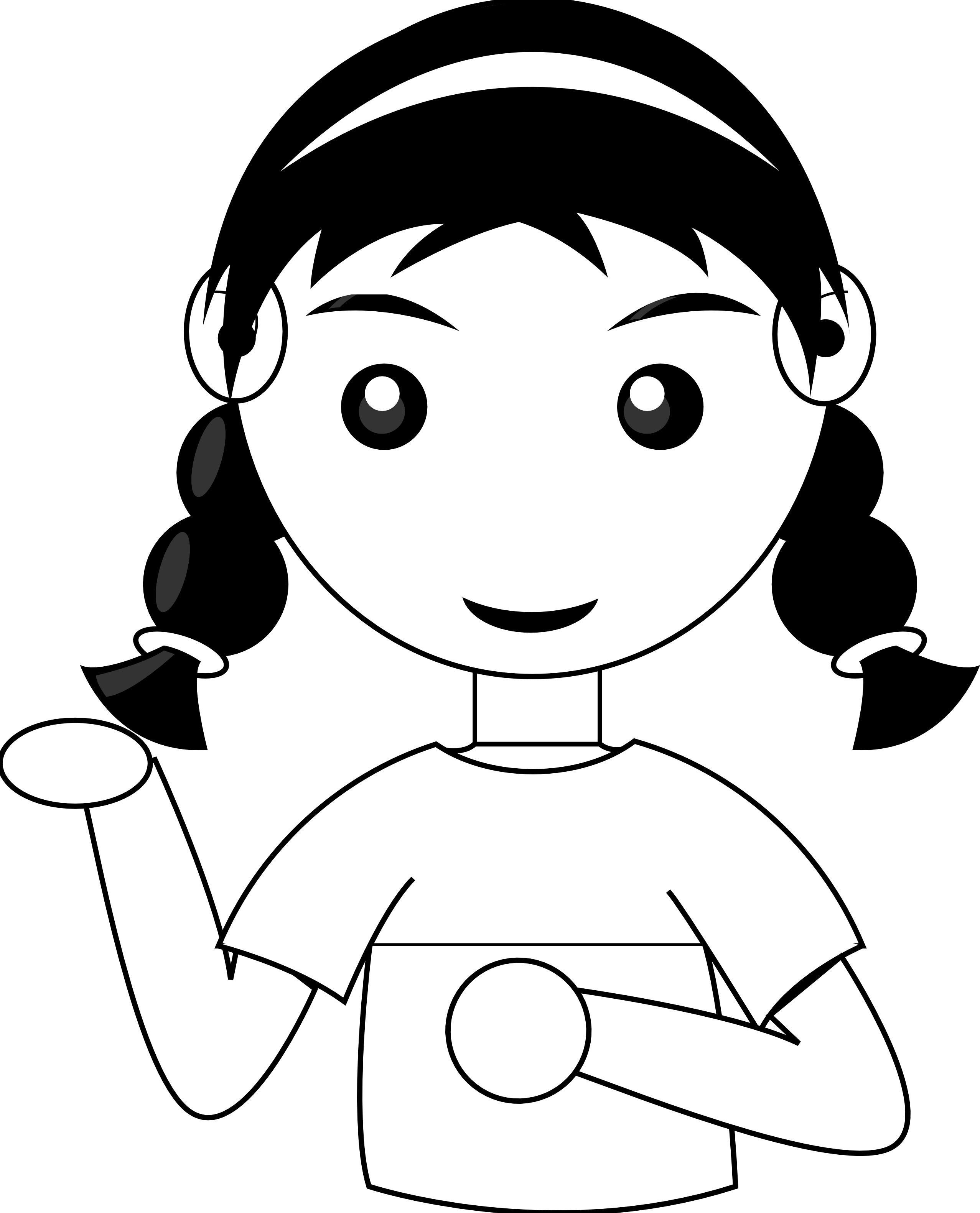 Sad Girl Clipart Black And White