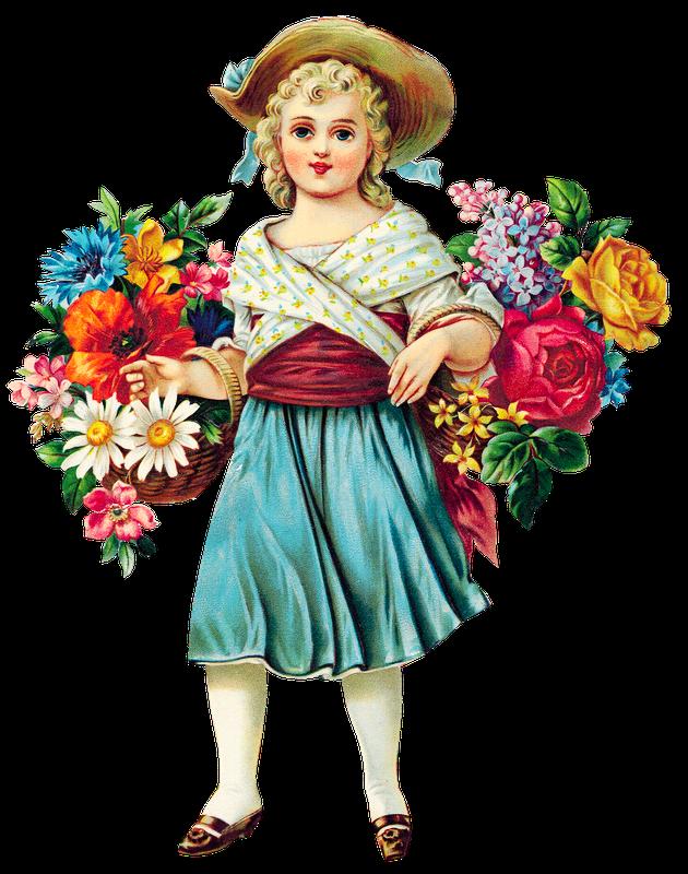 Free girl vintage . Hands clipart flower