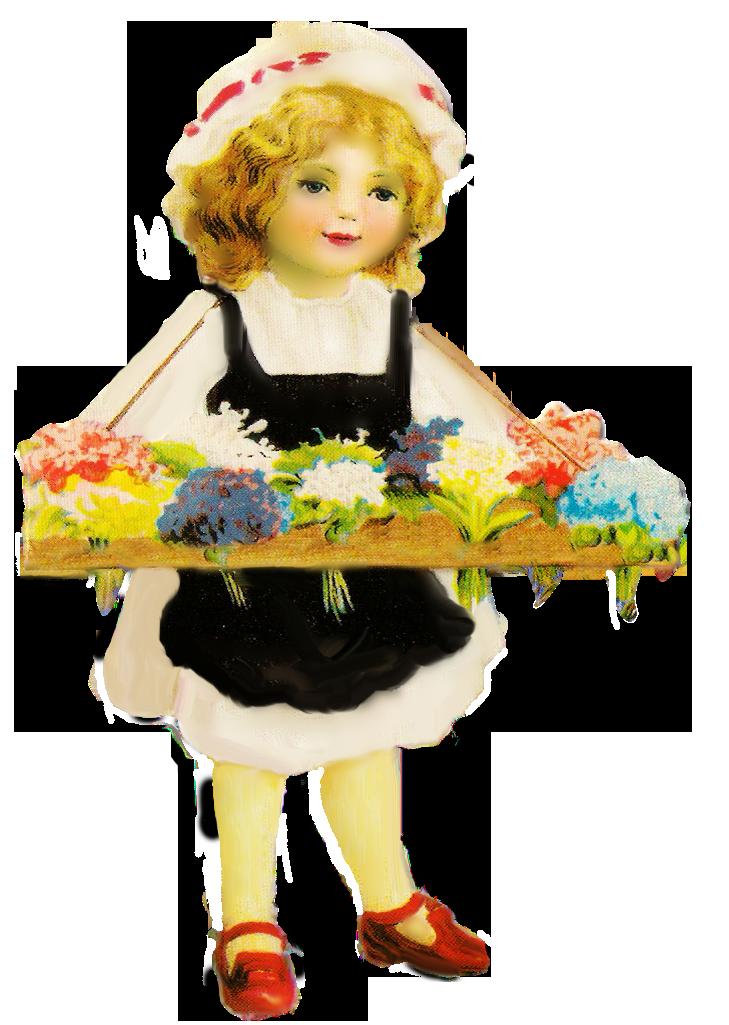 Girls clipart flower. Vintage girl by jinifur