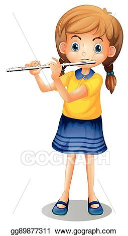 Flutes clipart vector. Girl playing flute alone