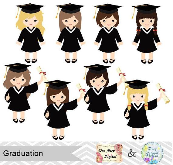 Graduation clipart kindergarten graduation. Girls graduate digital clip