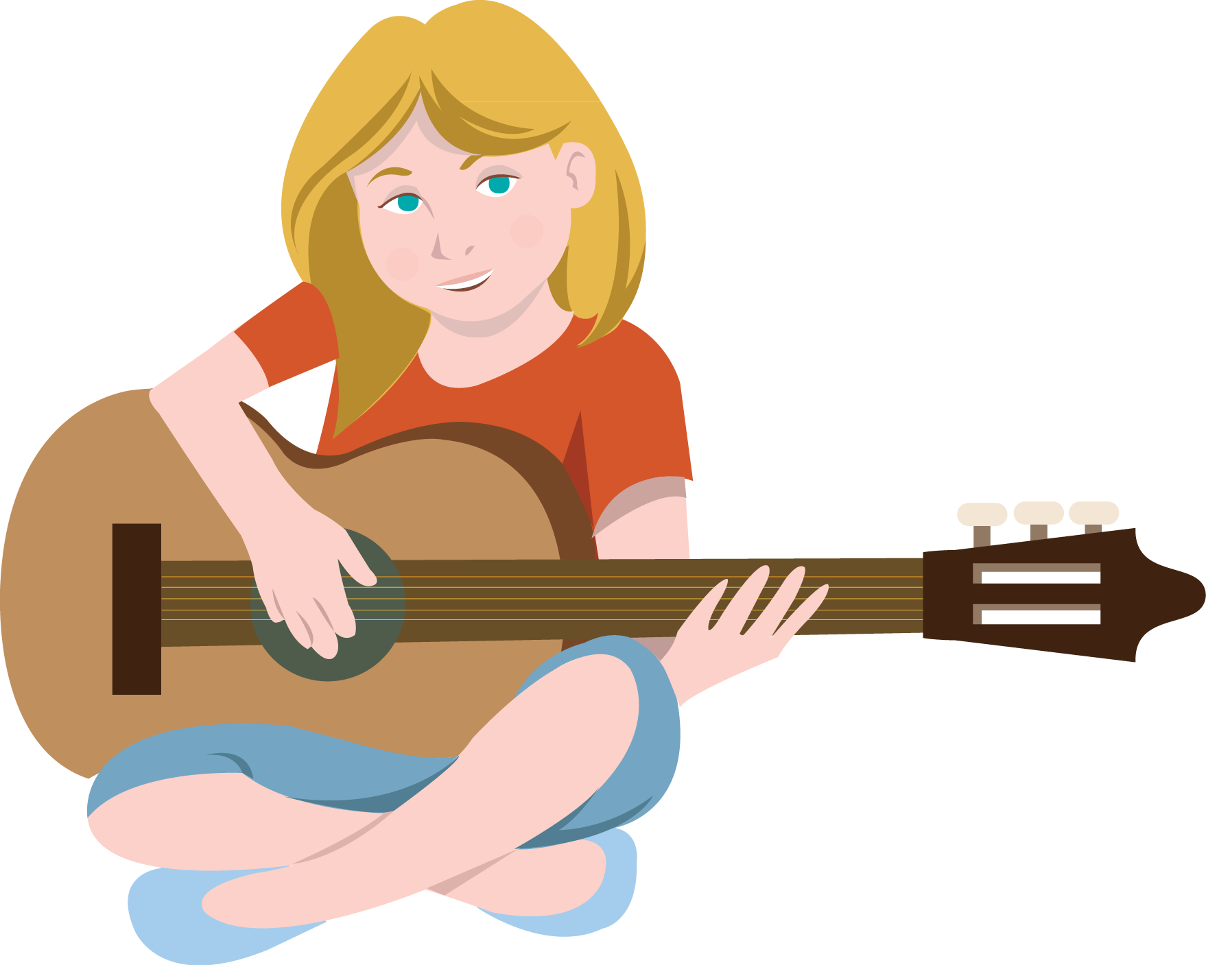 Female . Clipart guitar boy