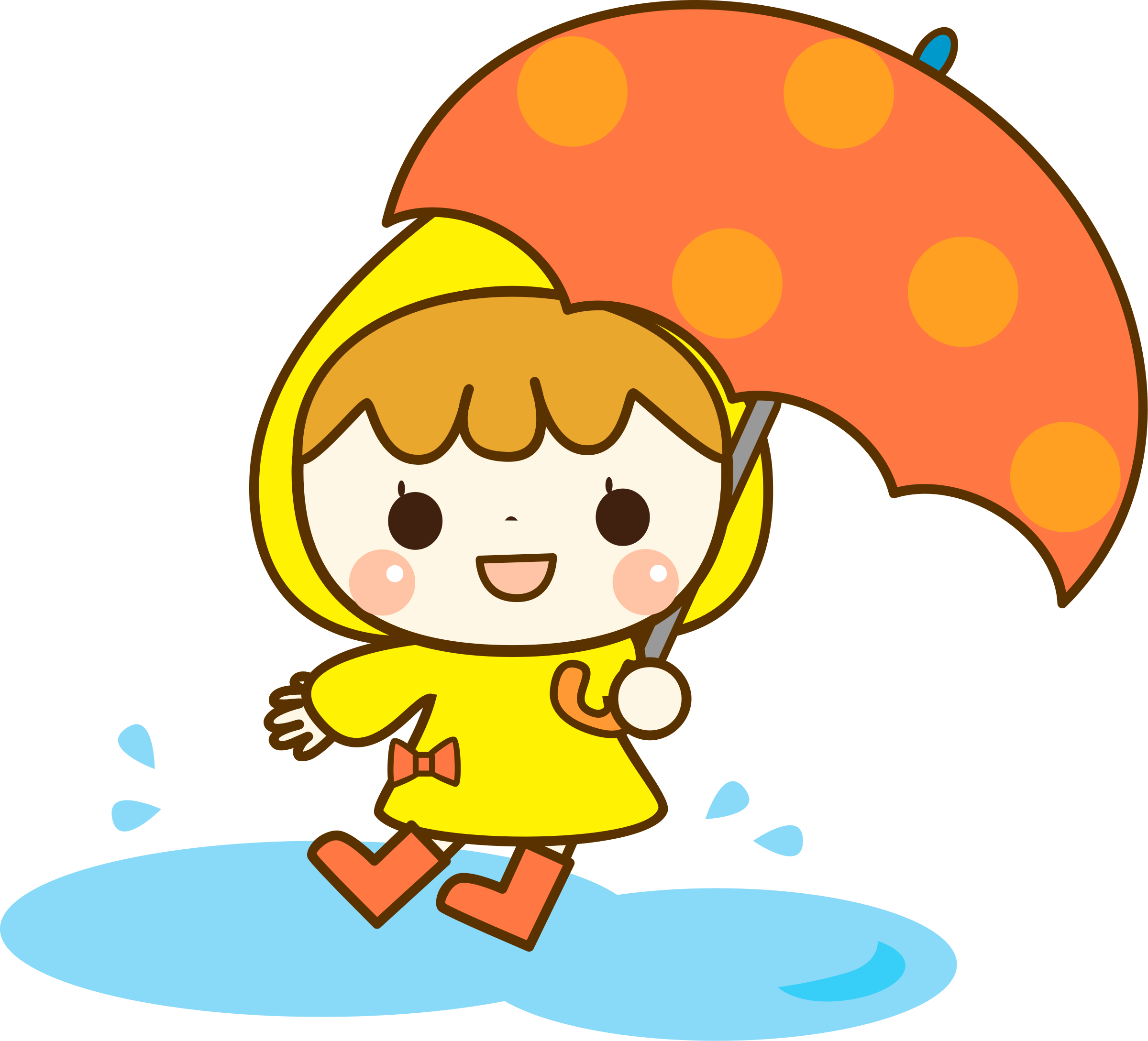 Clipart umbrella yellow umbrella. Girl with big image