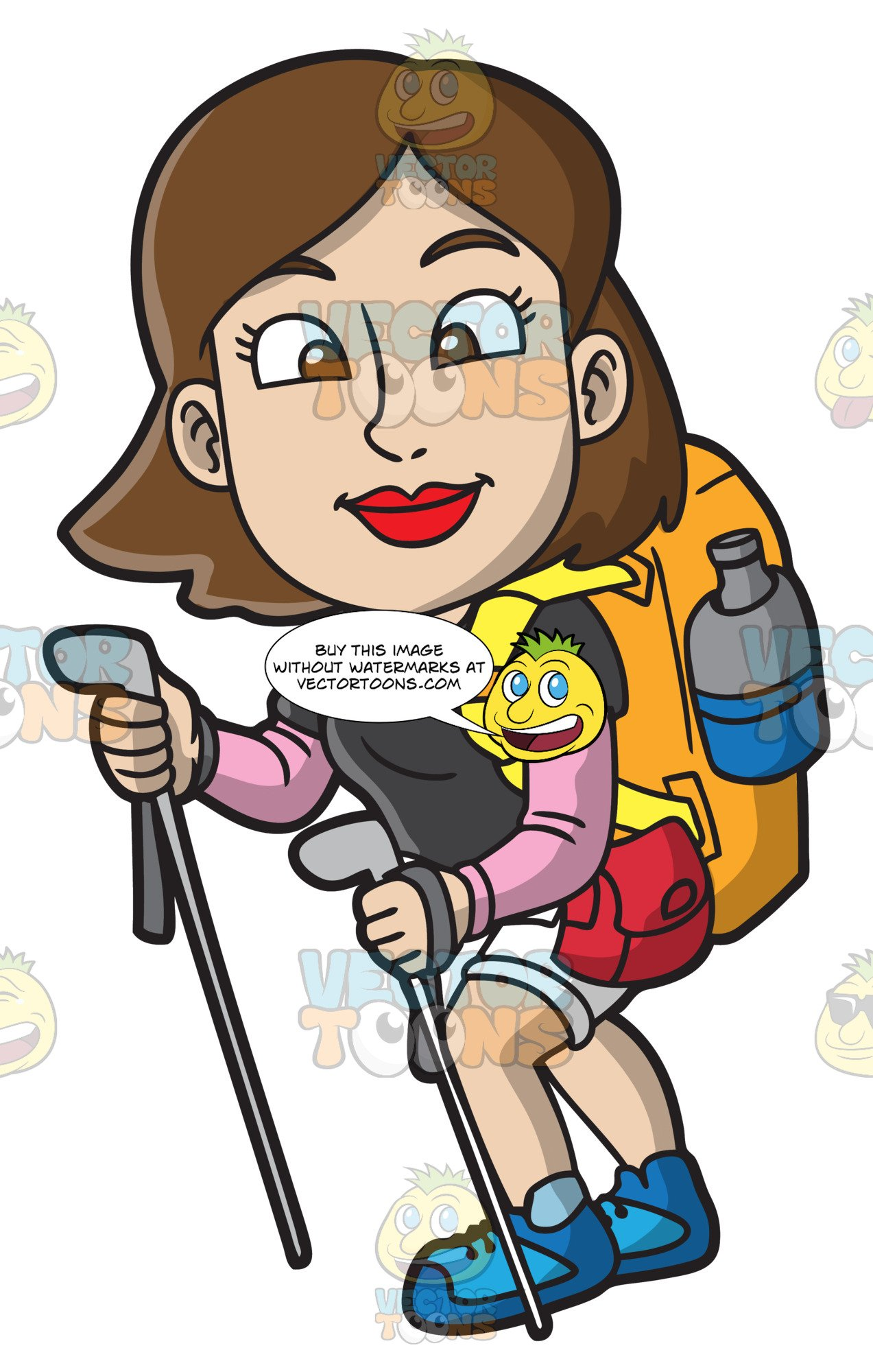 Hiker clipart adventurous girl. A woman hiking up
