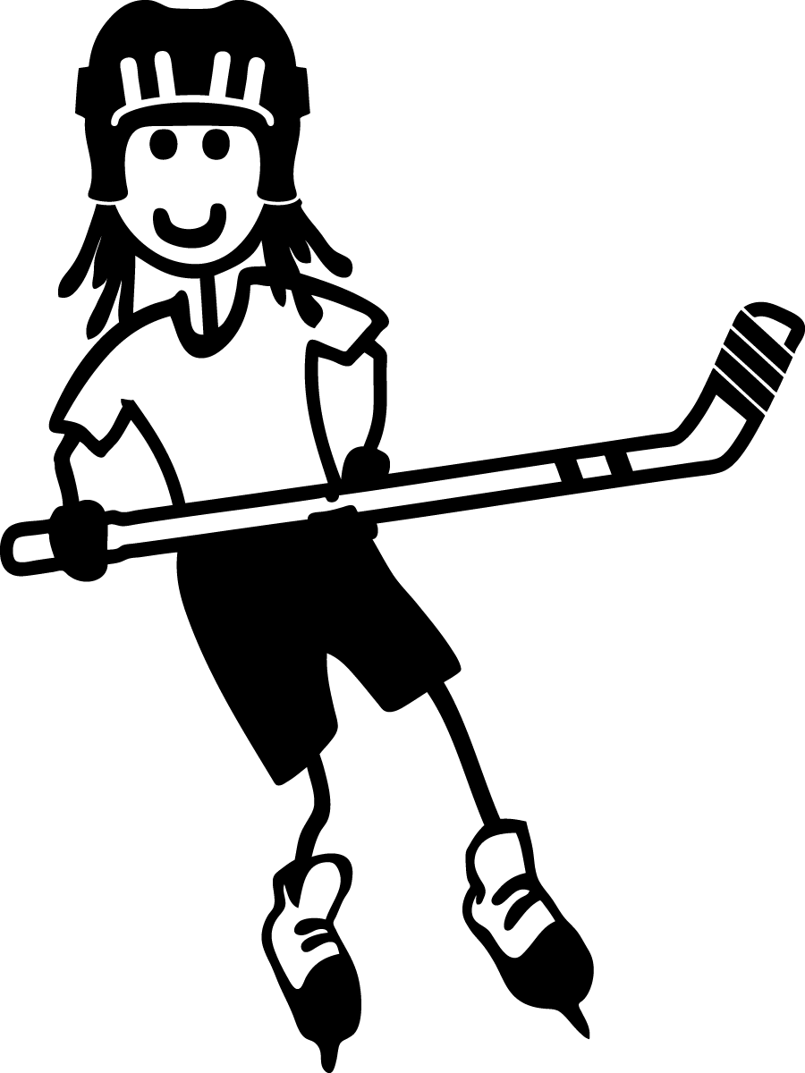 Girl clipart hockey. Stick female child sticker