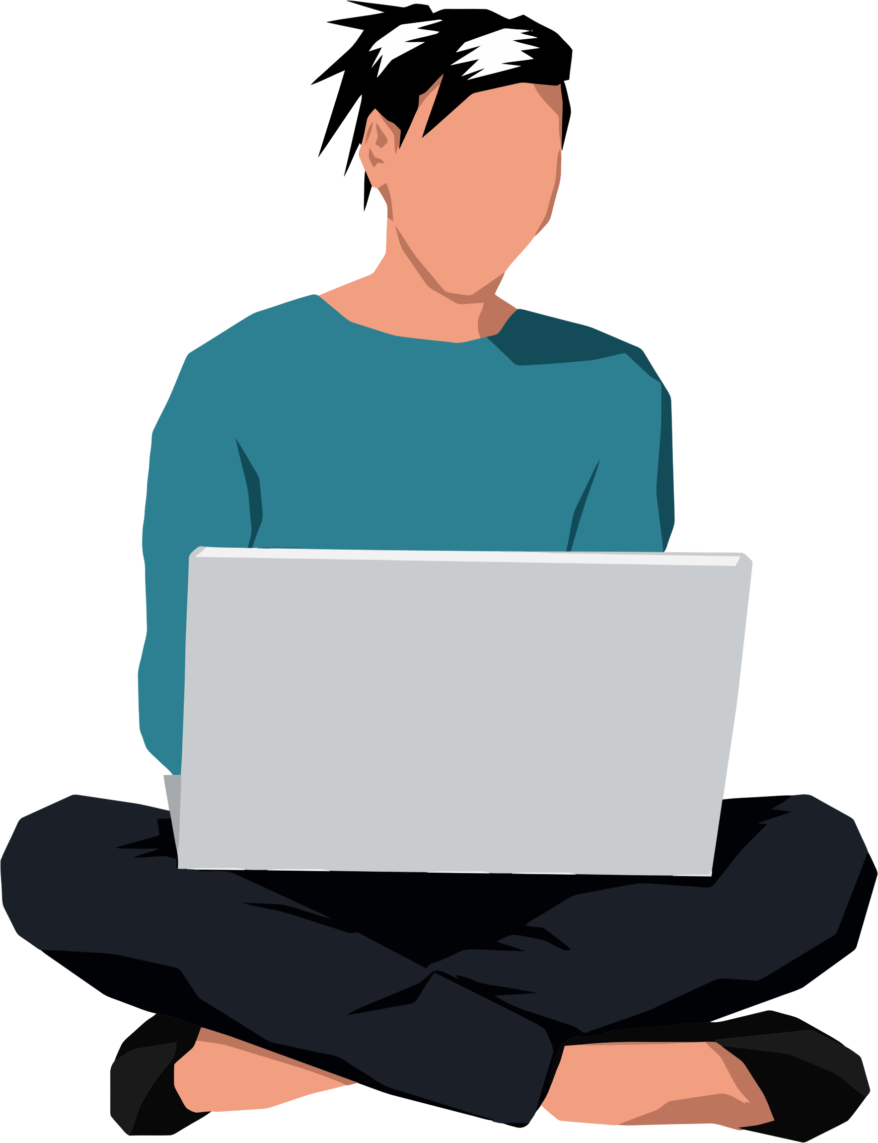 Sitting down with laptop. Clipart reading woman