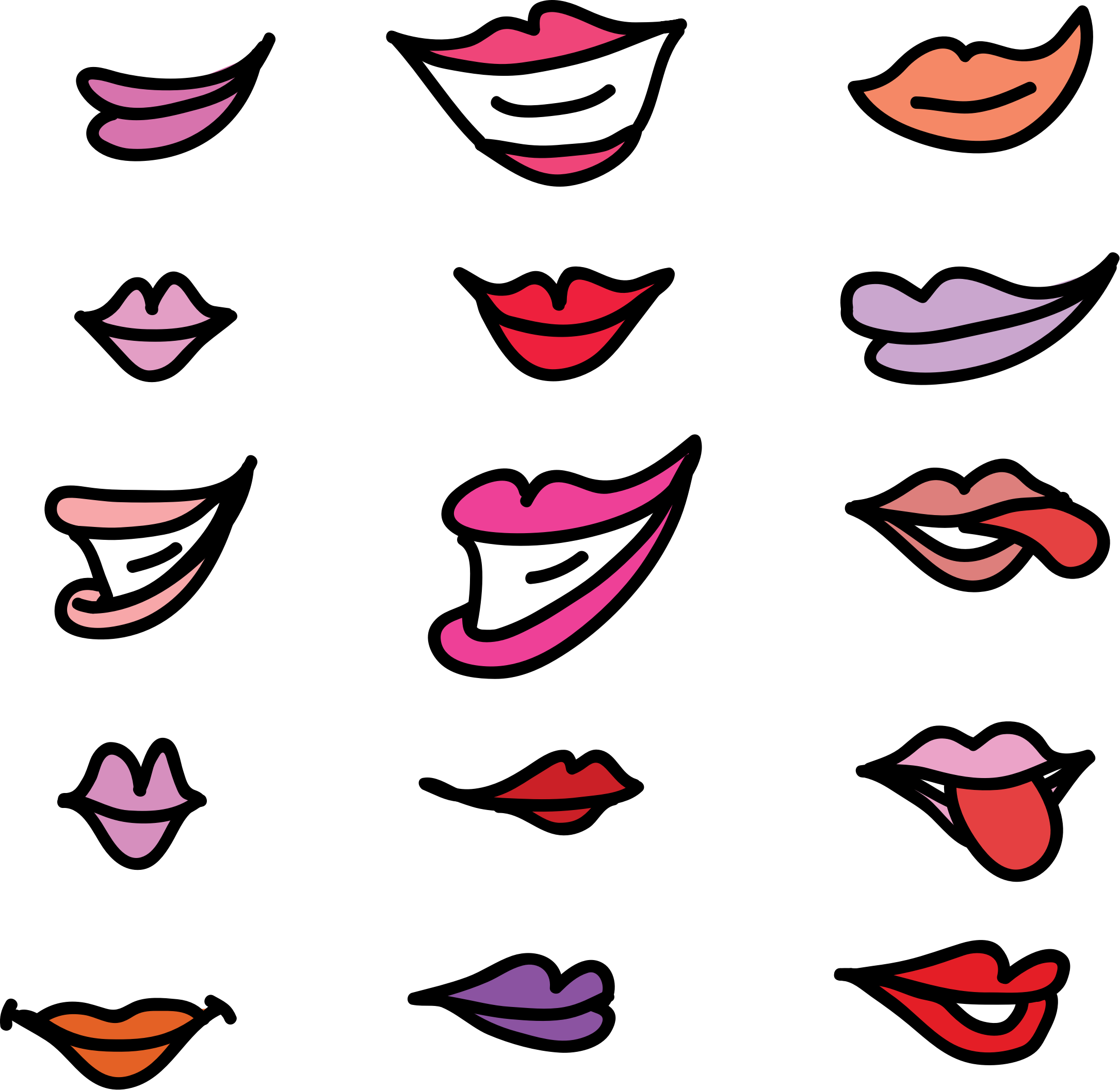 Lips clipart nose. Set of girly big