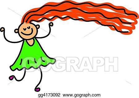 Clipart girl long hair. Stock illustrations happy