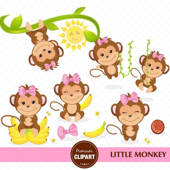 Monkey clipart baby girl. Shower