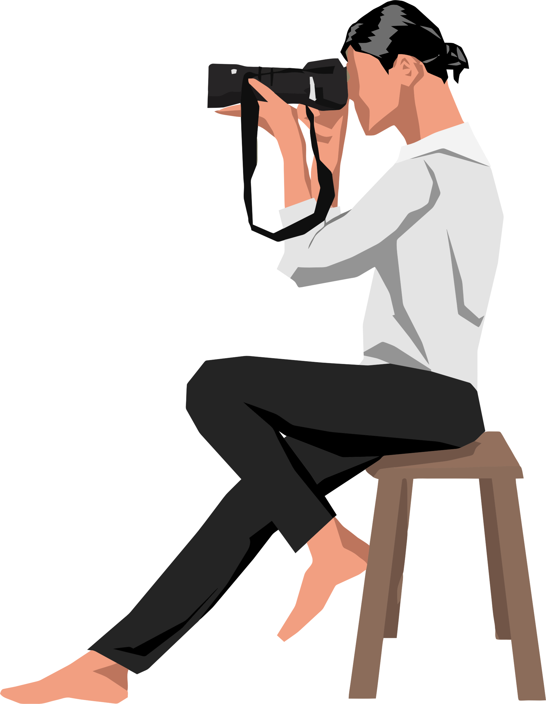 Clipart gun person. Woman photographer on stool