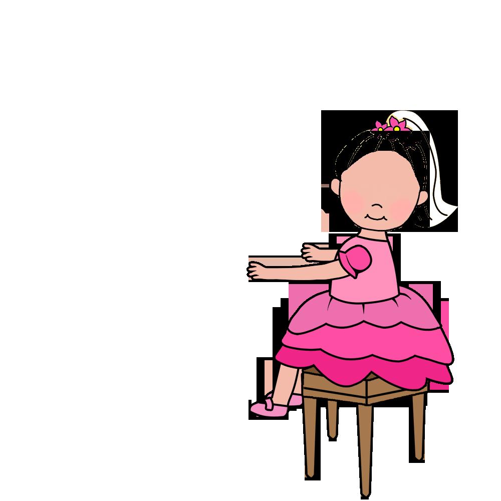 Recital or party invitations. Girl clipart piano